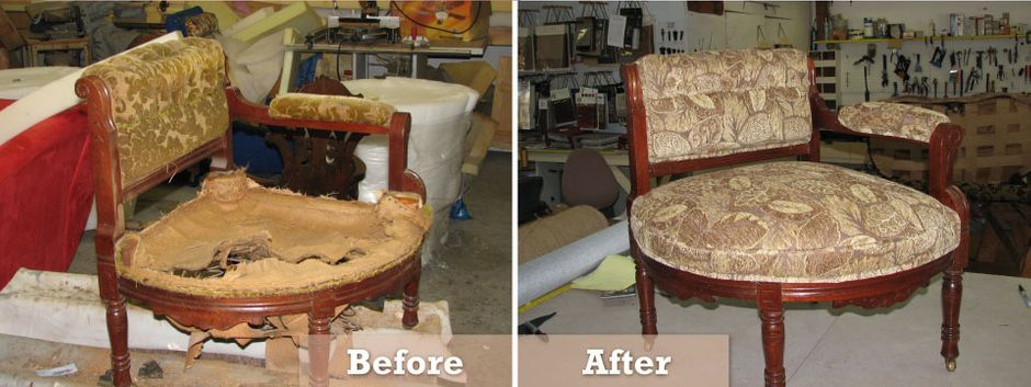 before and after re-upholstering