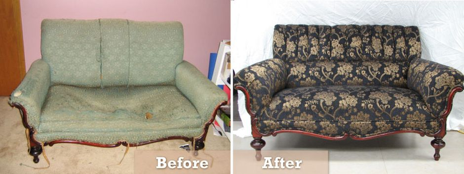 re-upholstered furniture before and after